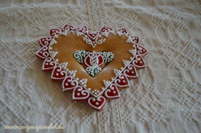 Mézeskalács szív csokor