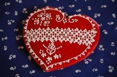 Mézeskalács nagy csipkés szív 2